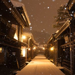 old township in takayama night